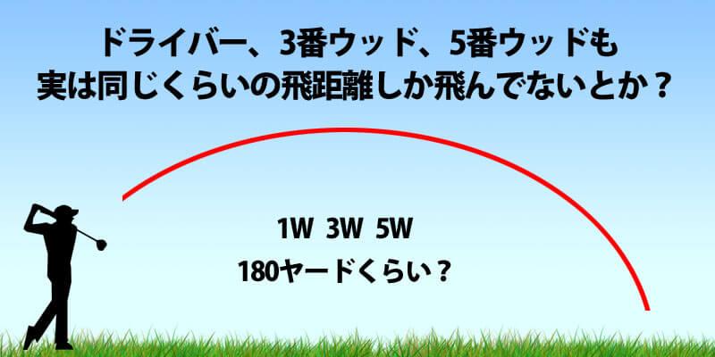 ドライバーも3番ウッドも5番ウッドも同じくらいの飛距離しか飛んでない?